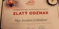 Ďakovný list pre Mgr. Jozefa Jedináka